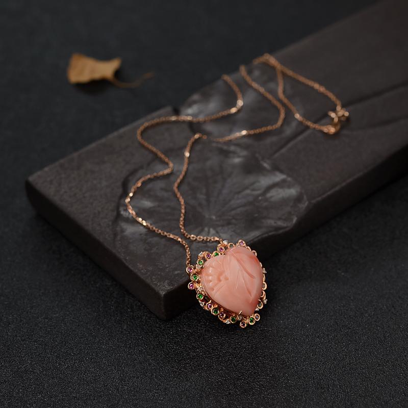 天然18K金镶钻深水粉色珊瑚心形项链-红掌柜