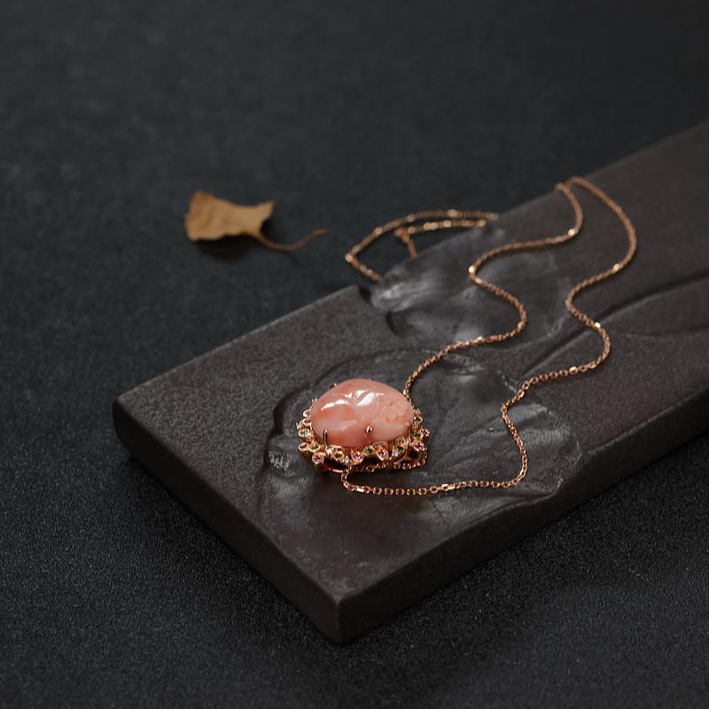 天然深水粉色珊瑚心形项链-红掌柜