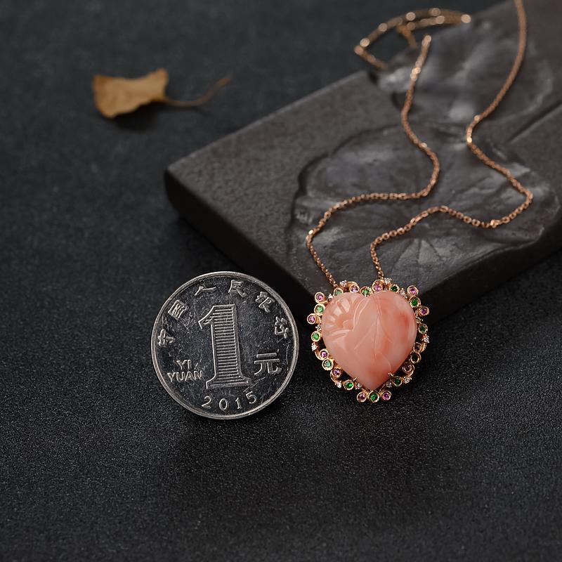 天然深水珊瑚心形项链-红掌柜