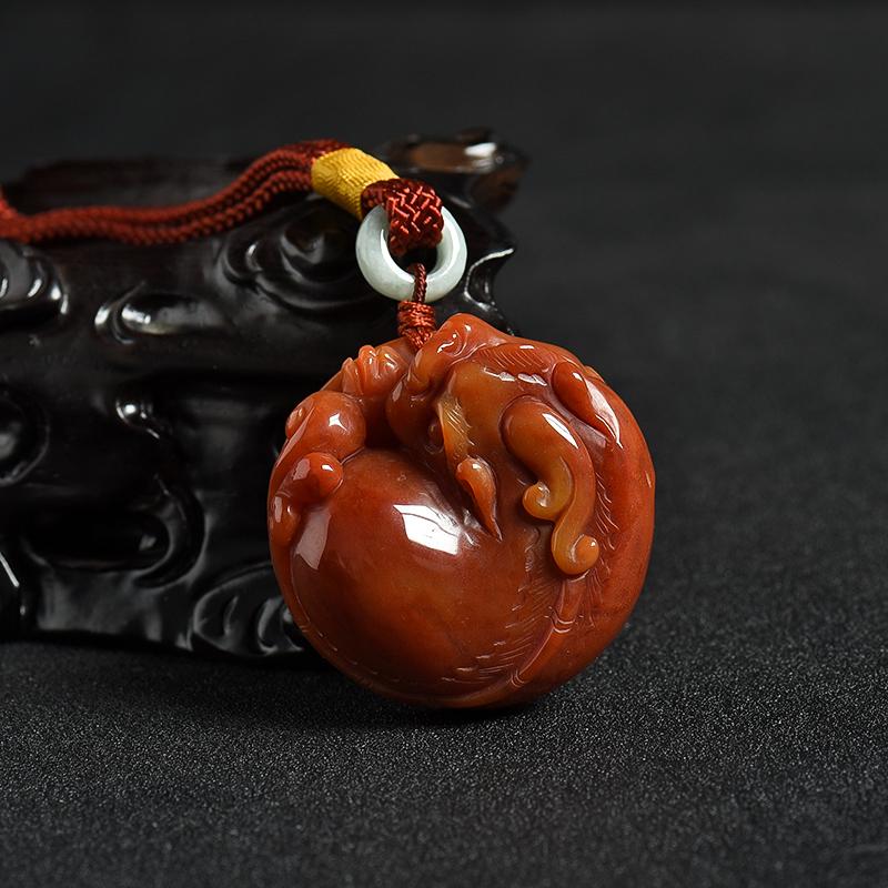 山料天然橙黄黄龙玉貔貅手把件-红掌柜