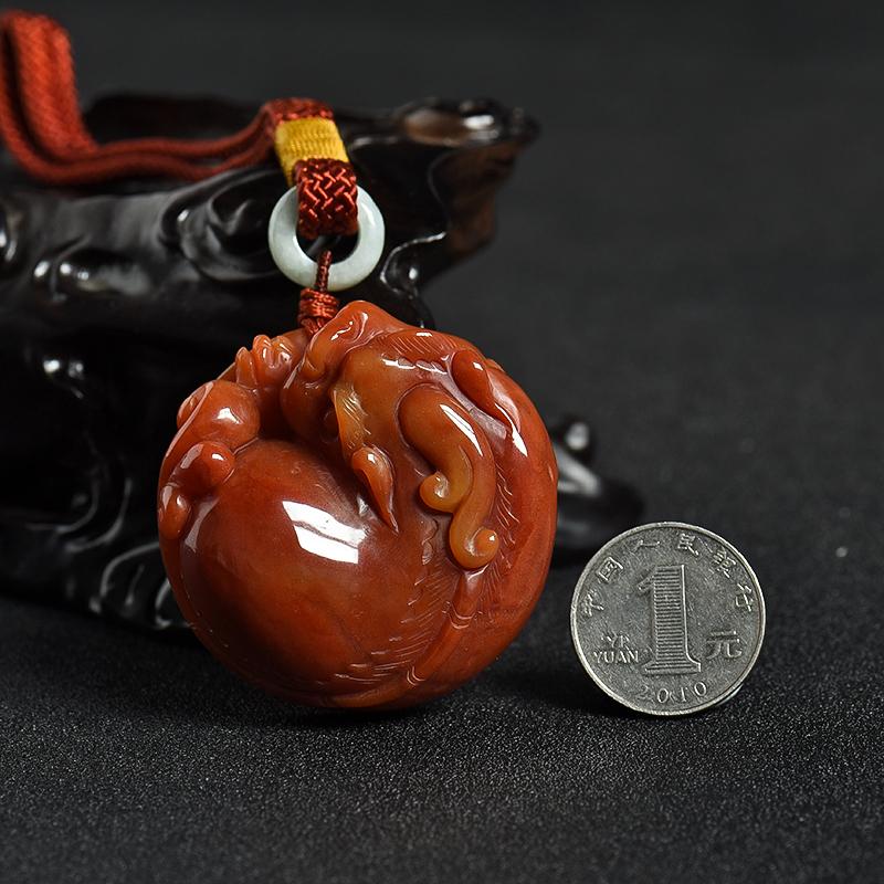 黄龙玉貔貅手把件-红掌柜