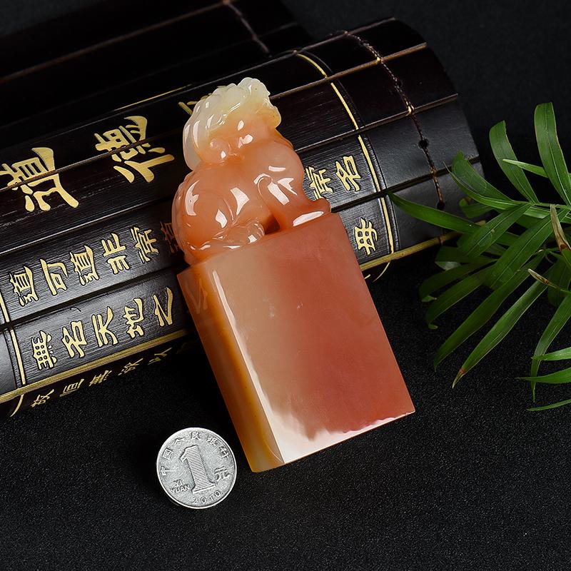 云南龍陵山料俏色黃龍玉貔貅印章-紅掌柜