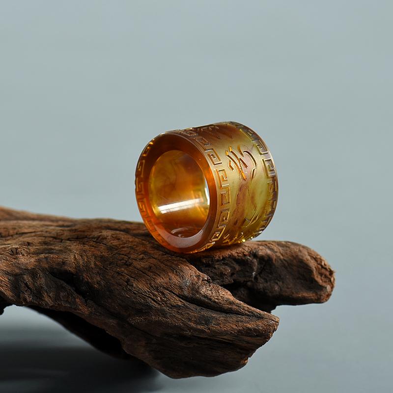 黃茶珀指環-紅掌柜
