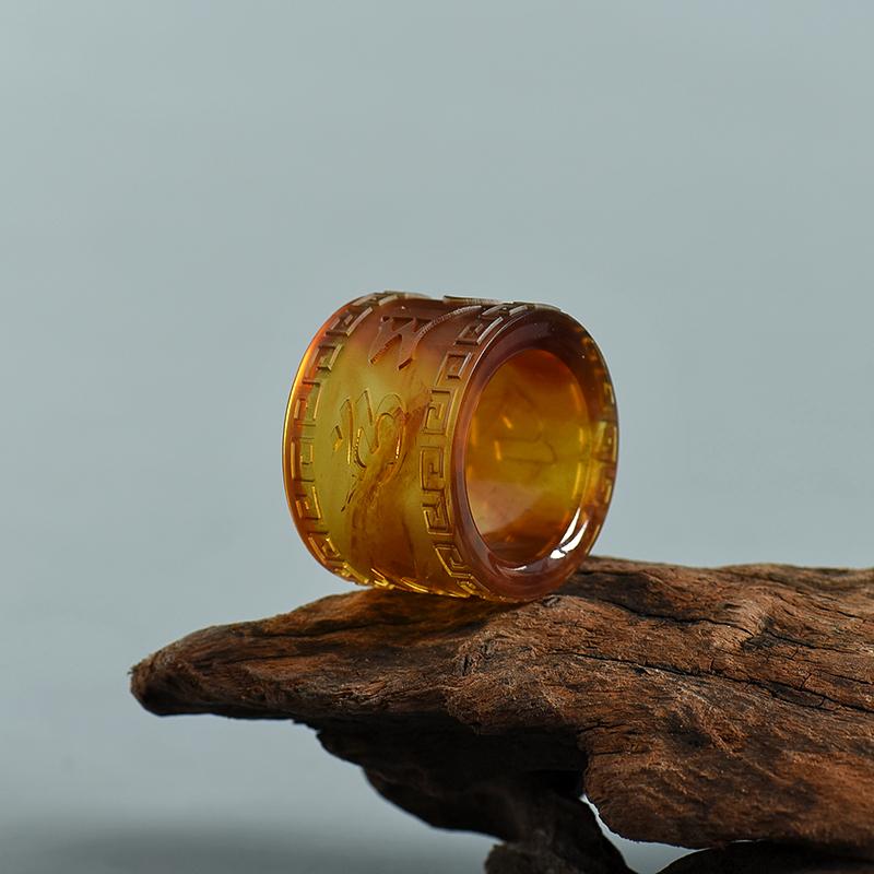 天然黃茶珀戒指-紅掌柜