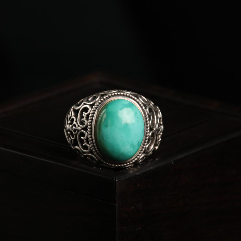银镶高瓷蓝绿松石戒指-红掌柜