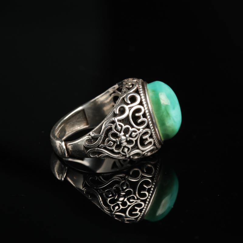 湖北银镶高瓷蓝绿松石戒指-红掌柜