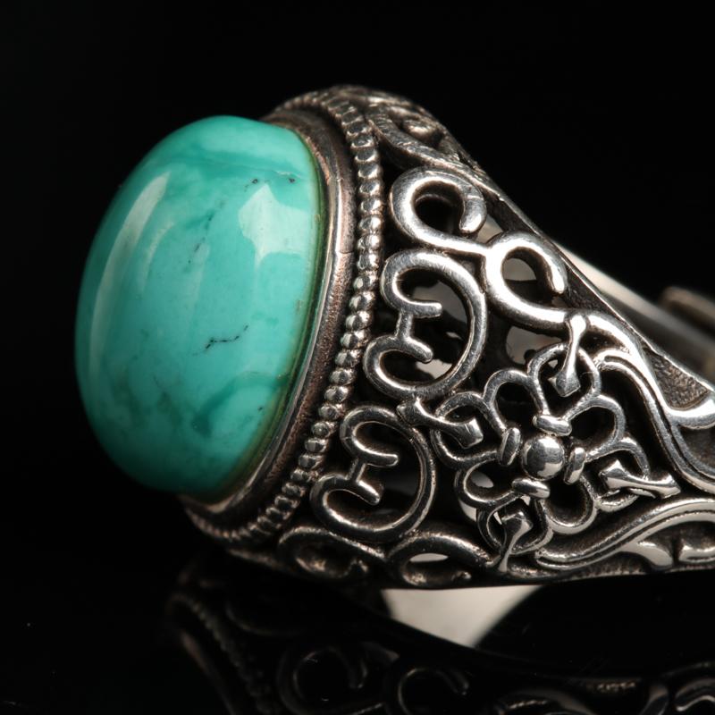 银镶高瓷蓝绿松石-红掌柜