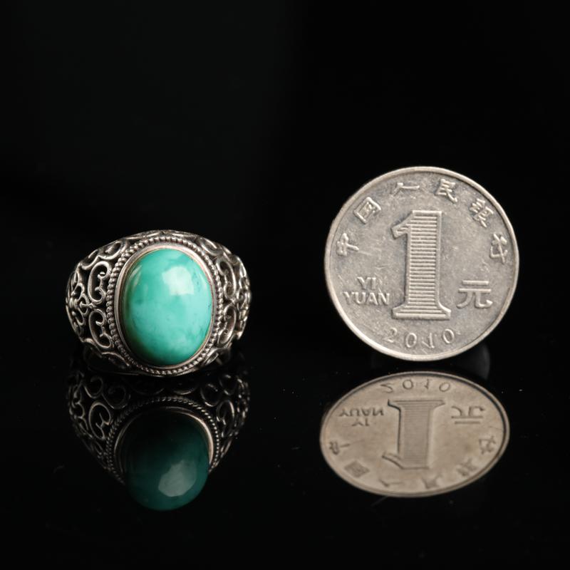湖北天然银镶高瓷蓝绿松石戒指-红掌柜
