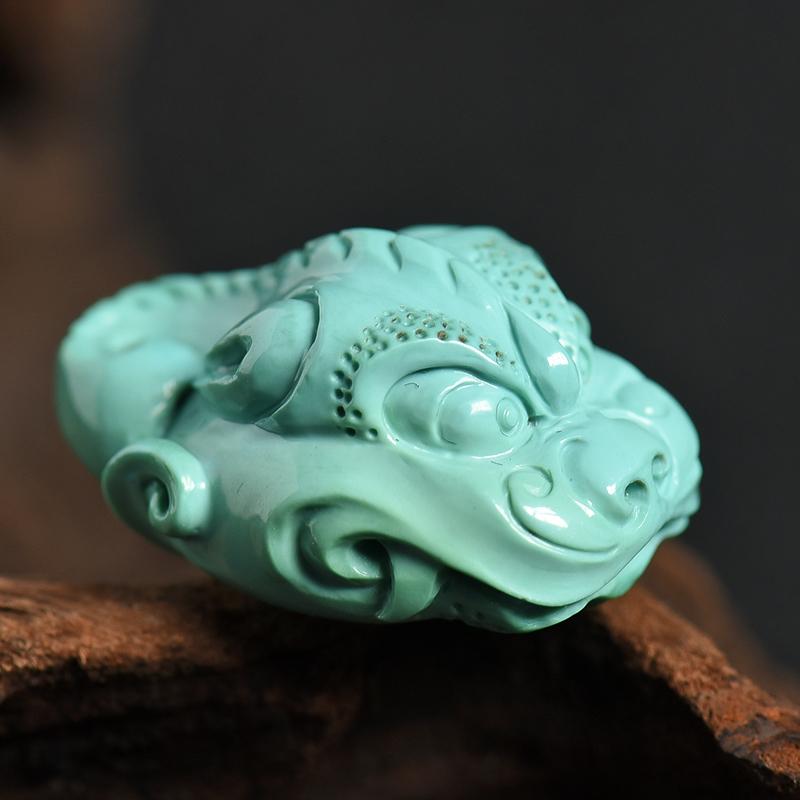 高瓷高蓝绿松瑞兽吊坠-红掌柜
