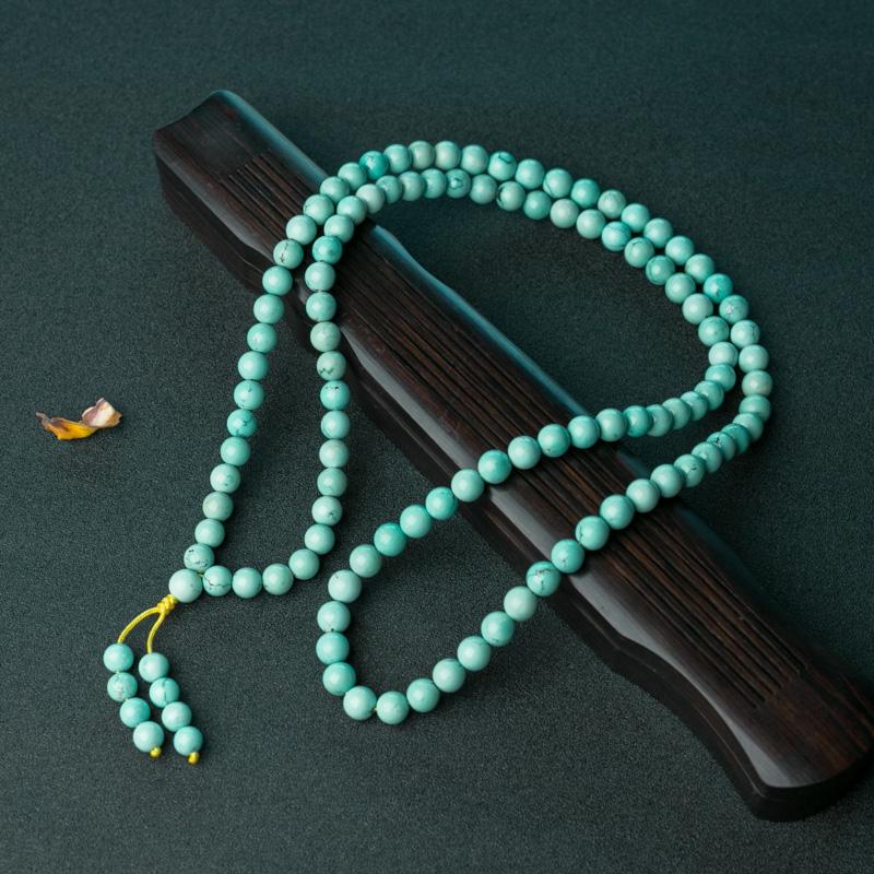 湖北中高瓷铁线蓝绿松石108佛珠-红掌柜