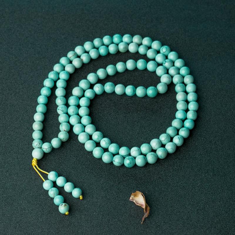 湖北天然蓝绿松石108佛珠-红掌柜