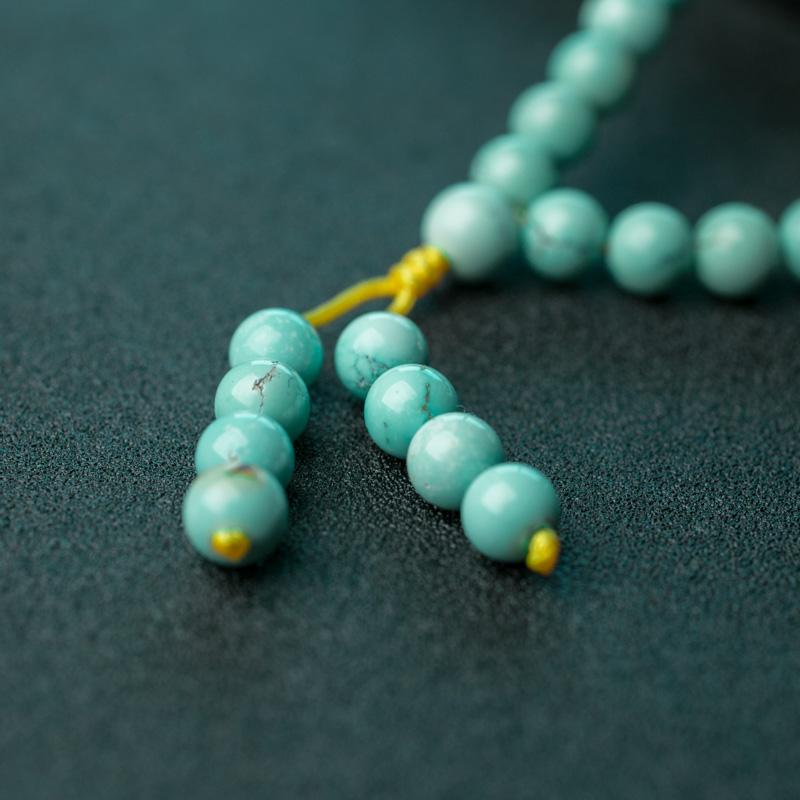 湖北天然中高瓷铁线蓝绿松石佛珠-红掌柜