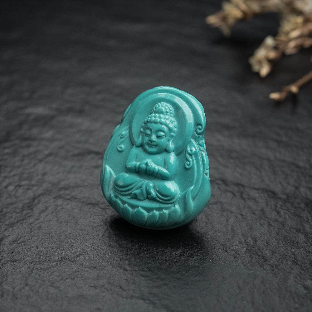 蓝绿绿松石宝宝佛吊坠-红掌柜