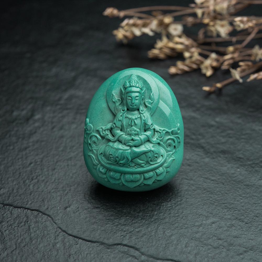 高瓷蓝绿绿松石无量寿佛吊坠-红掌柜
