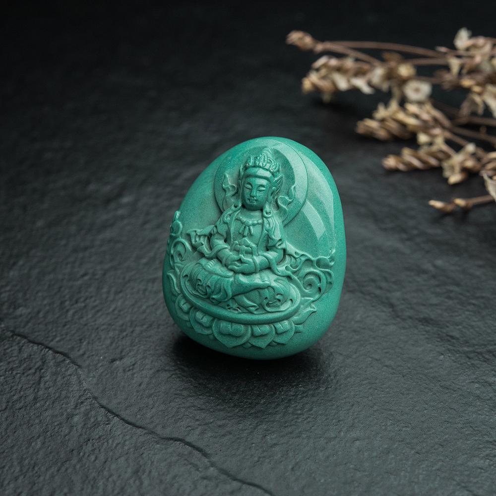 高瓷绿松石无量寿佛吊坠-红掌柜