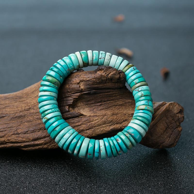 中瓷铁线蓝绿绿松石隔片单圈手串-红掌柜