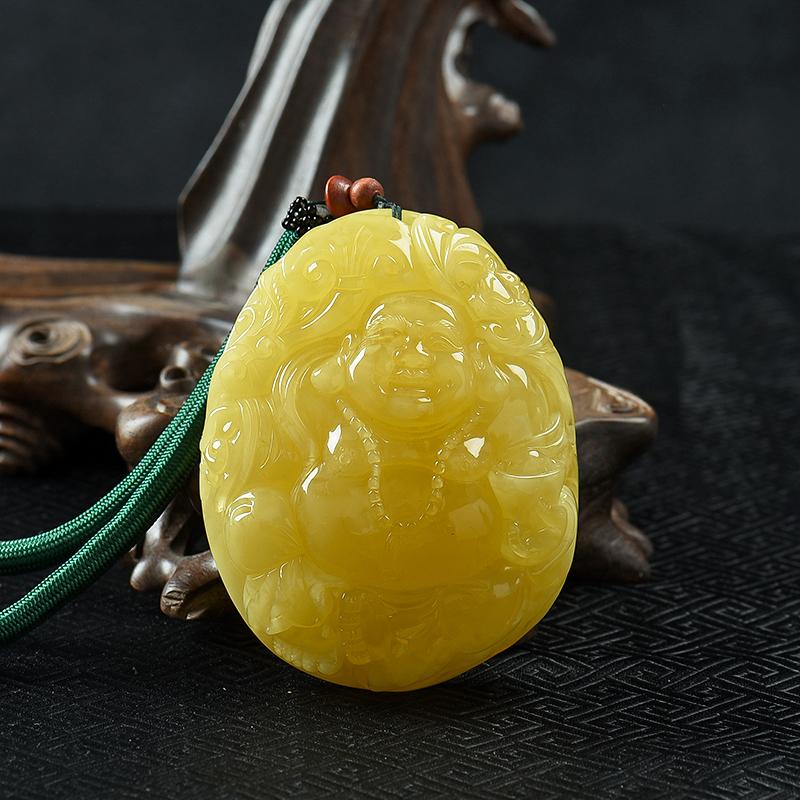 鸡油黄蜜蜡佛公-红掌柜