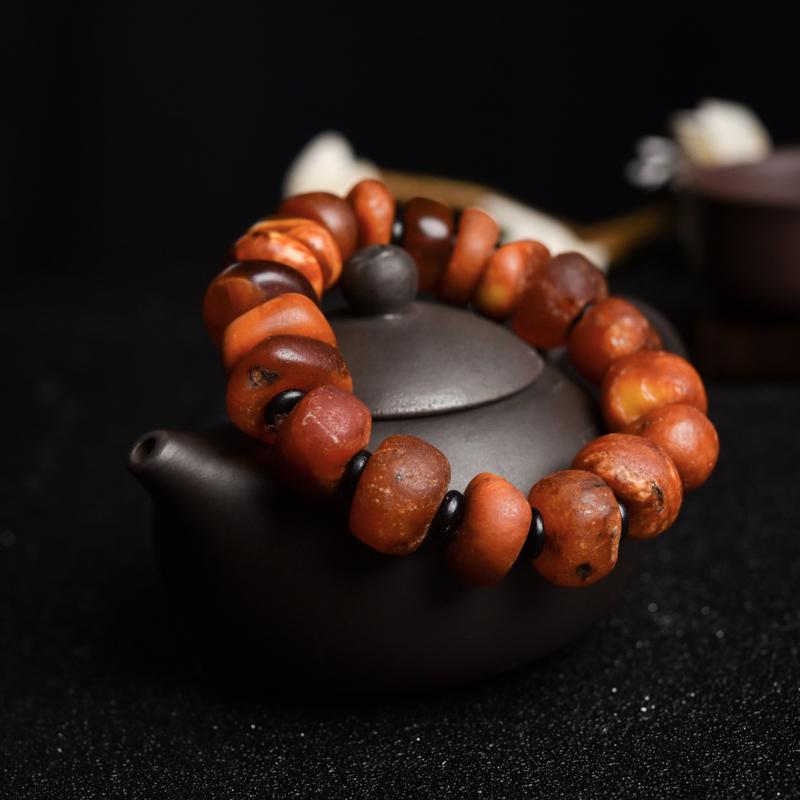 褐紅老蜜蠟隨形單圈手串-紅掌柜