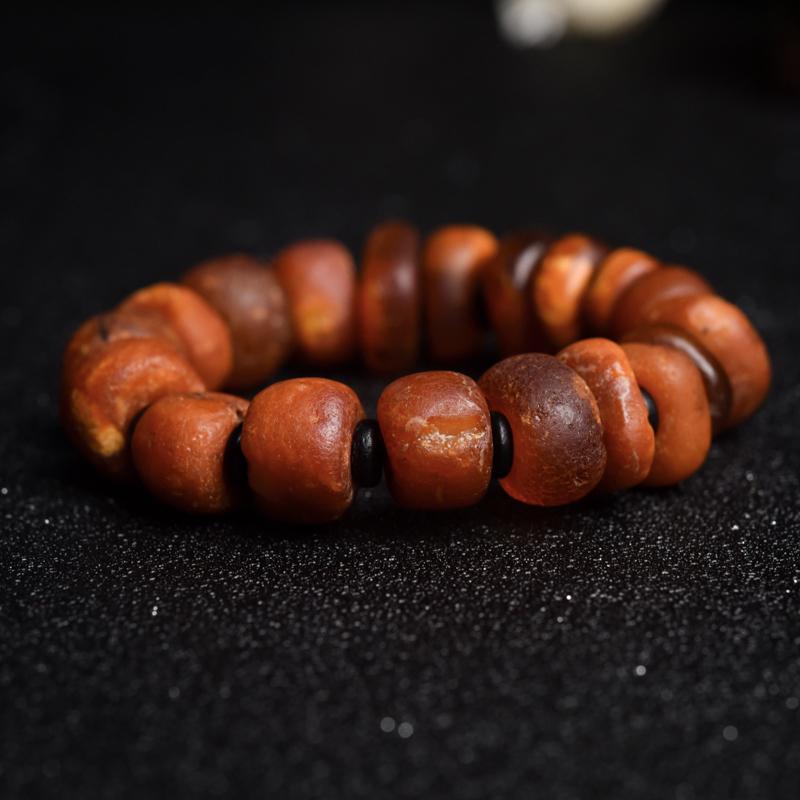 褐红老蜜蜡单圈手串-红掌柜