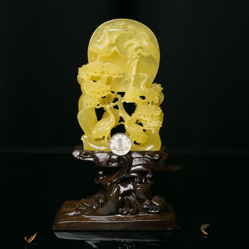 天然波罗的海鸡油黄蜜蜡松鹤延年摆件-红掌柜