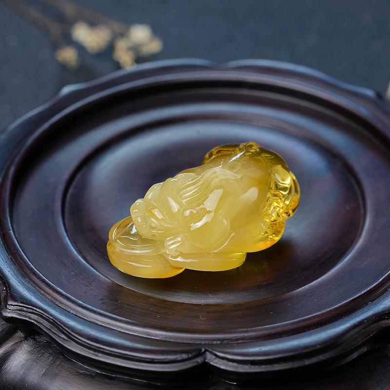 鸡油黄金绞蜜貔貅吊坠-红掌柜