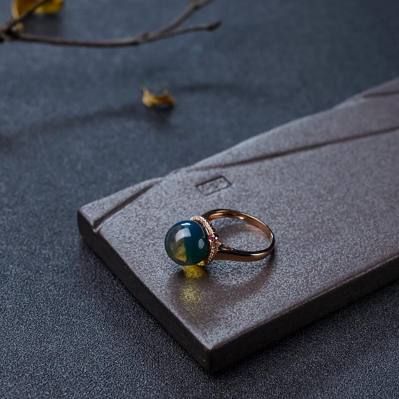金镶钻净水多米蓝珀戒指-红掌柜