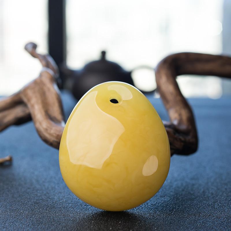 鸡油黄蜜蜡水滴吊坠-红掌柜
