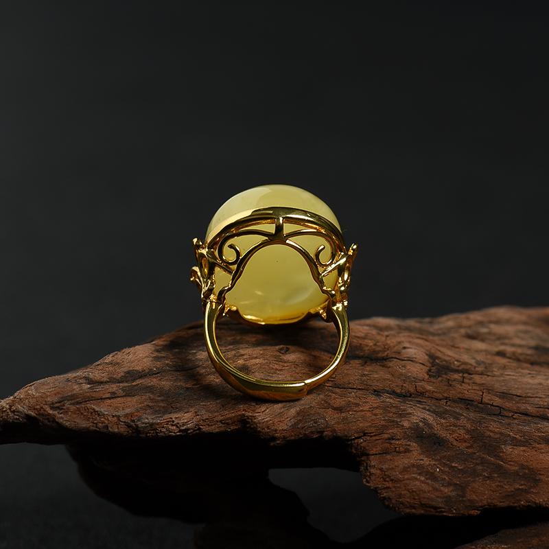 银镶波罗的海鸡油黄蜜蜡戒指-红掌柜