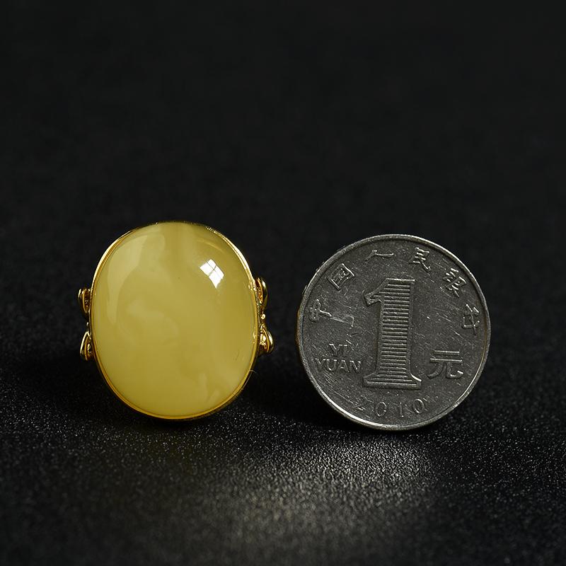鸡油黄蜜蜡戒指-红掌柜