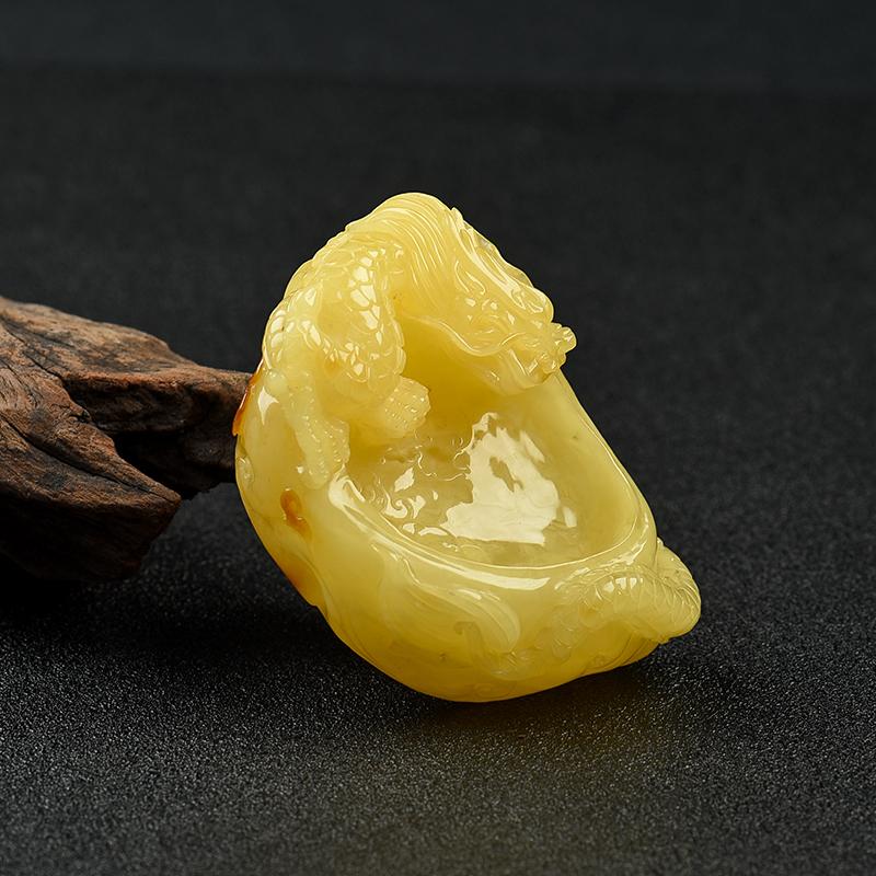 天然雞油黃蜜蠟辰龍筆洗-紅掌柜
