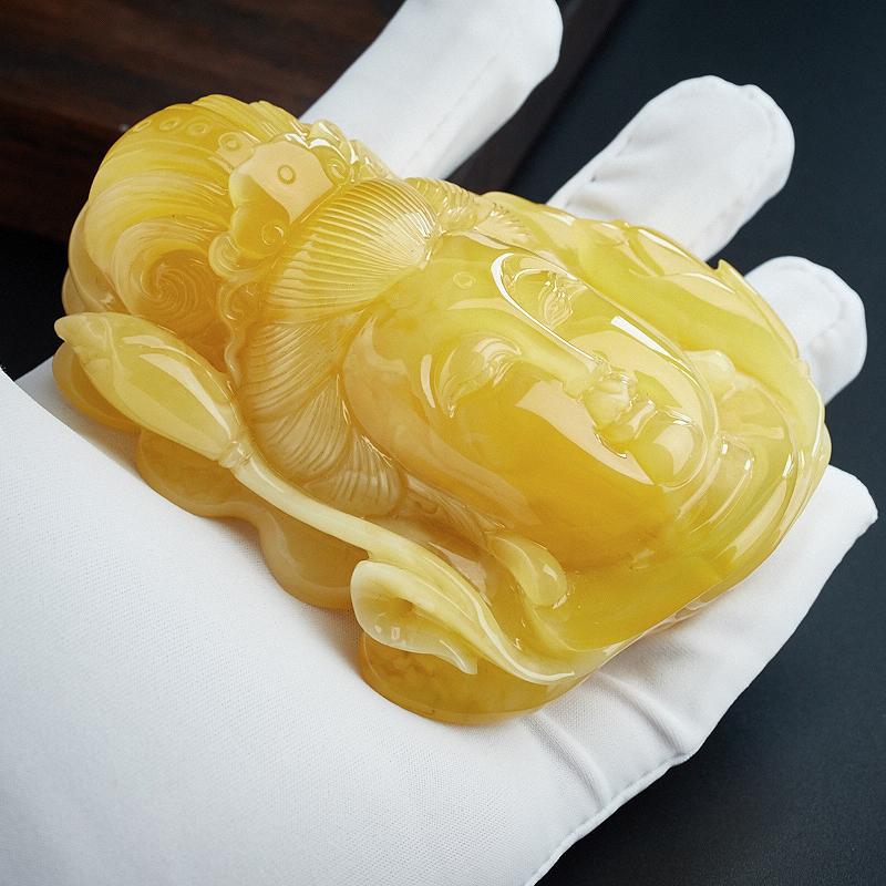 鸡油黄蜜蜡摆件-红掌柜