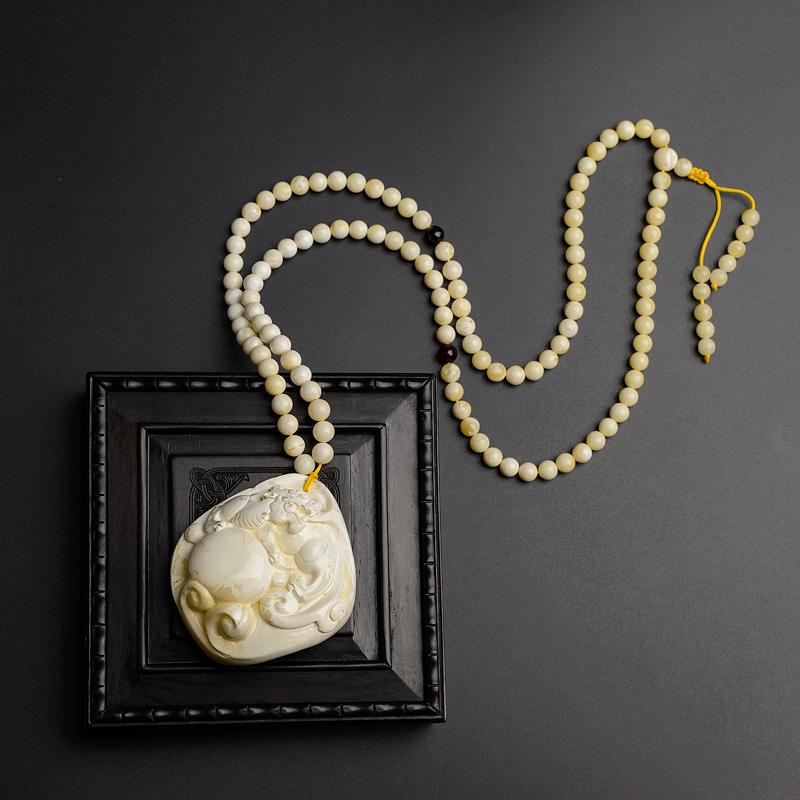 波罗的海天然白蜜蜜蜡貔貅项链-红掌柜