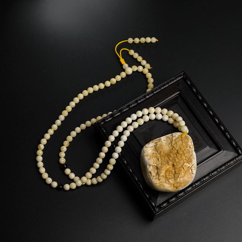 波罗的海白蜜蜜蜡貔貅项链-红掌柜