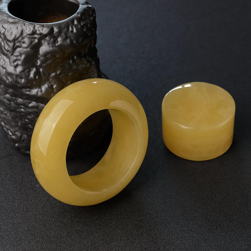 雞油黃蜜蠟平安鐲-紅掌柜