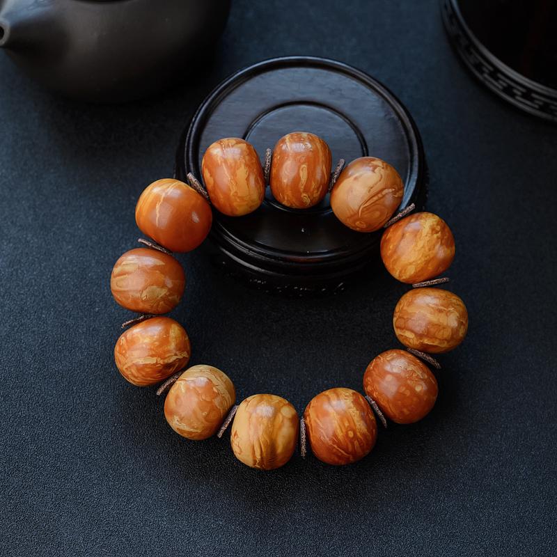 22mm西亚枣红花蜡老蜜蜡苹果珠手串-红掌柜