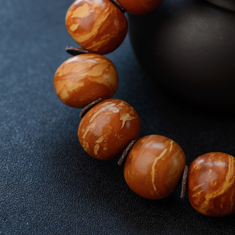 22mm西亚枣红老蜜蜡苹果珠手串-红掌柜