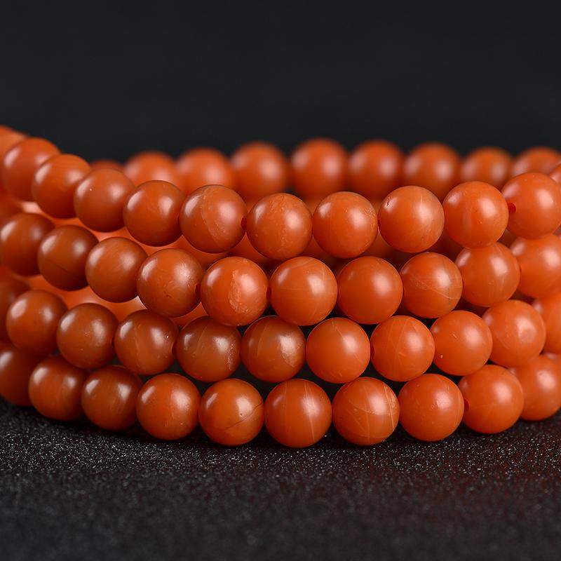 保山柿子红南红108佛珠-红掌柜