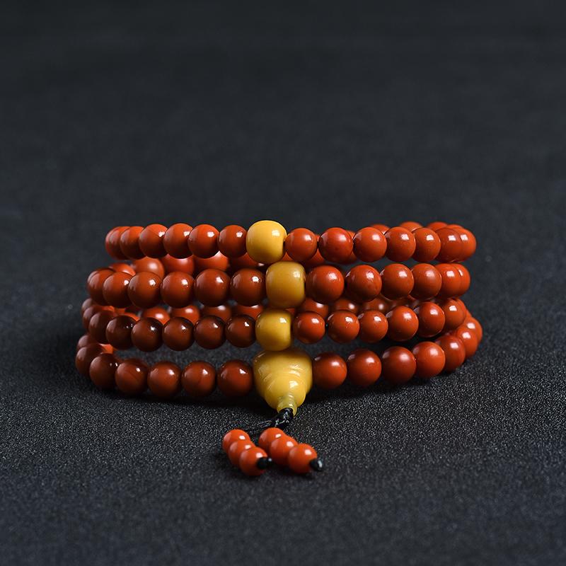 天然保山柿子红南红108佛珠 - 红掌柜