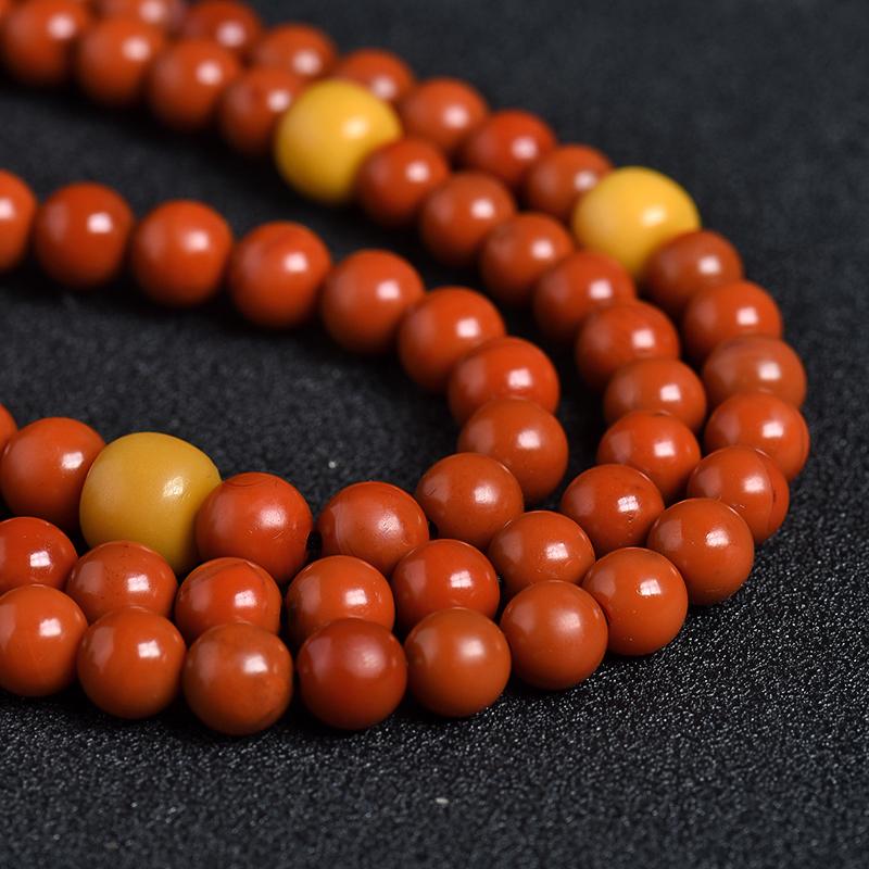 天然柿子红南红108佛珠 - 红掌柜