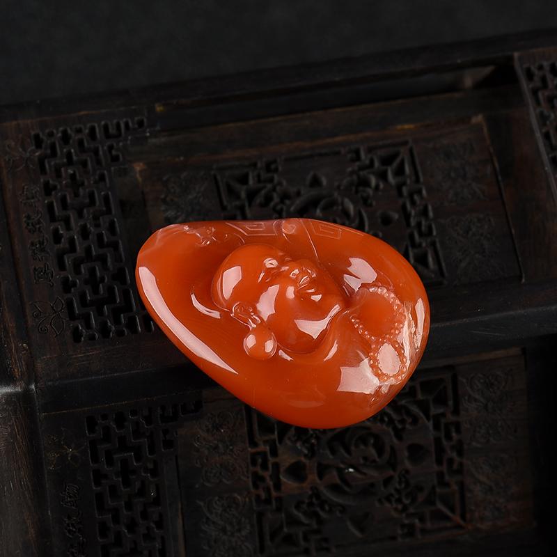 川料天然樱桃红南红吊坠-红掌柜