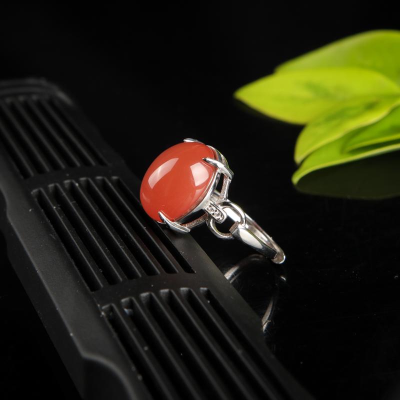 天然川料樱桃红南红戒指-红掌柜