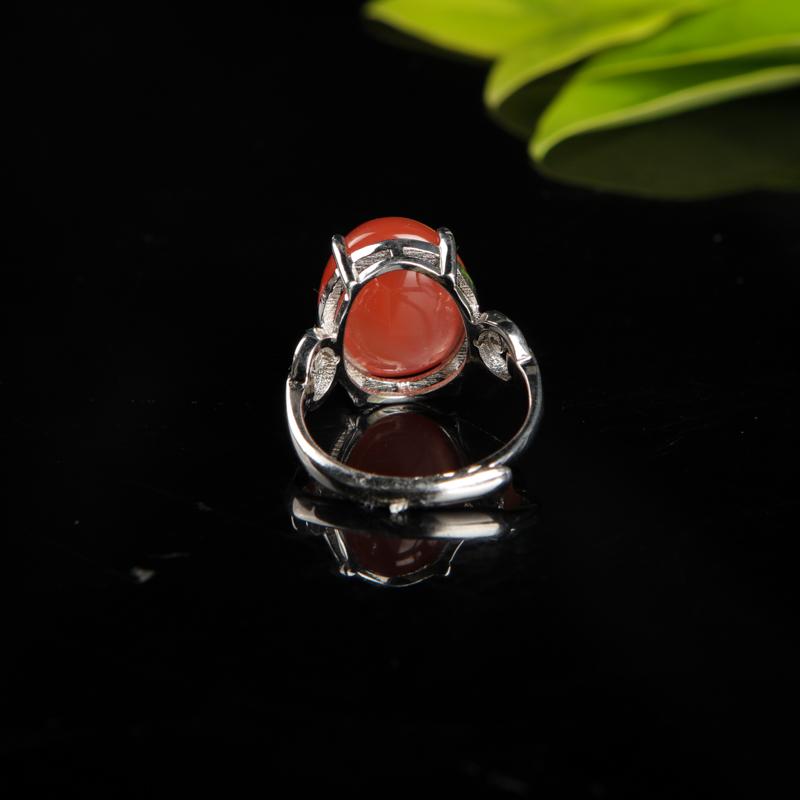银镶天然樱桃红南红戒指-红掌柜