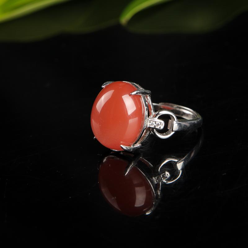 川料樱桃红南红戒指-红掌柜