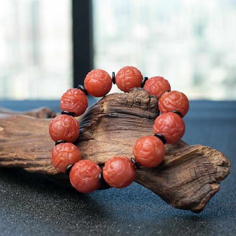 柿子红南红貔貅珠单圈手串-红掌柜