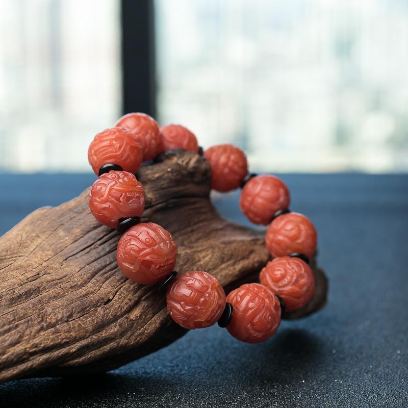 南红貔貅珠单圈手串-红掌柜