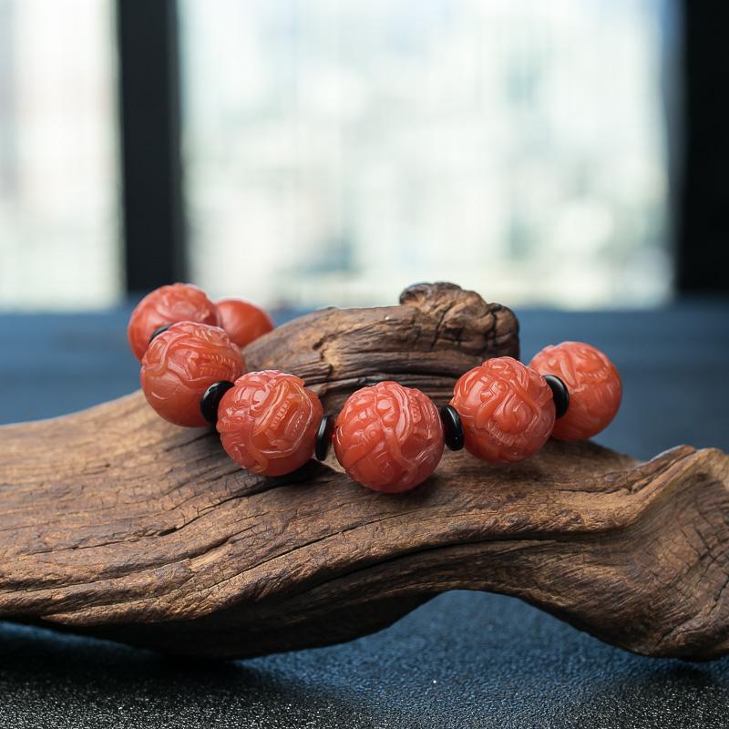 柿子红南红貔貅珠手串-红掌柜