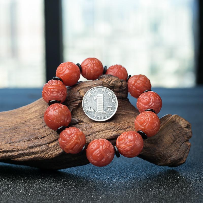 四川天然南红貔貅珠手串-红掌柜