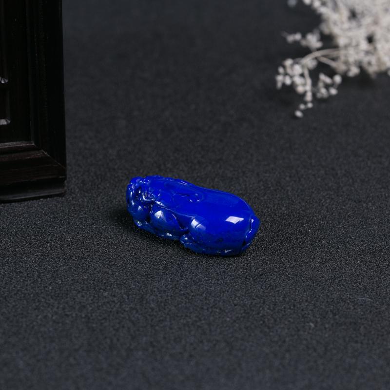 天然深蓝色青金石貔貅吊坠-红掌柜