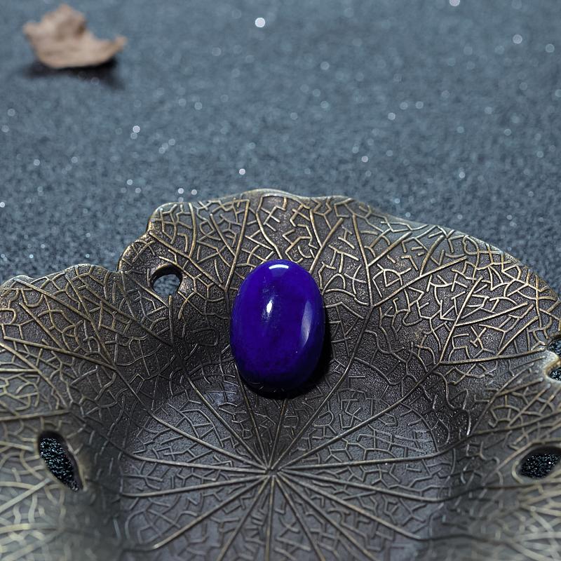 阿富汗天然深蓝色青金石蛋面形戒面-红掌柜