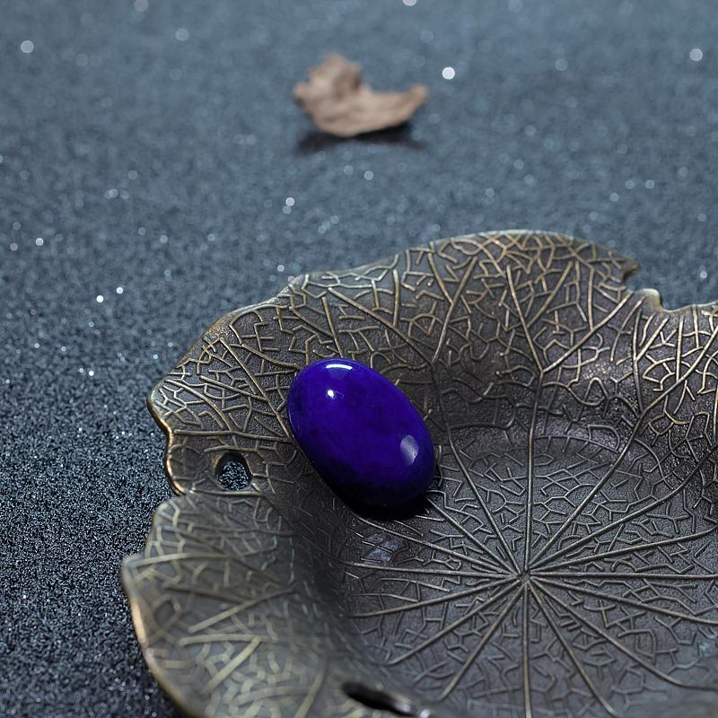阿富汗深蓝色青金石蛋面形戒面-红掌柜